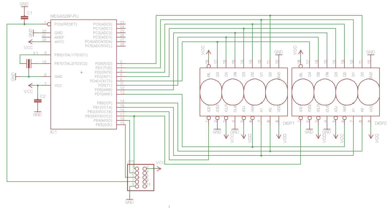 Using Dl2416 Intelligent 16 Segment Led Displays With Avr Display Circuit Diagram As You Can See These Are From Pre Spi Era And Need A Lot Of I O Even In Very Minimal Configuration Without Cursors Flashing