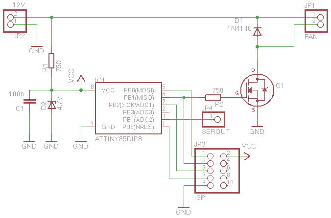 attiny85 based temperature dependent pwm fan controller PWM Voltage Control